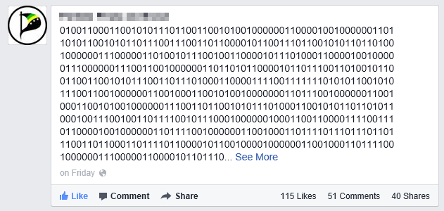 Sample fake binary message from Facebook